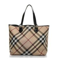 BURBERRY Nova Check Large Nickie Tote in Black