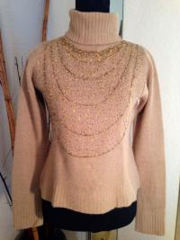 Dolce and Gab Tan Sweater with Beading
