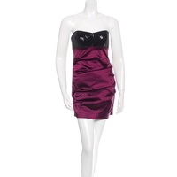 Sequin & Satin Strapless Ruched Mini Dress