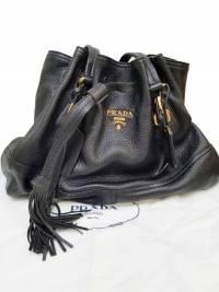 Prada Drawstring Black Deer Leather Tote