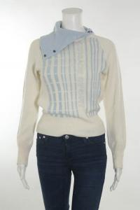 White Blue Striped Pull Over Sweater