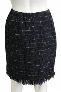 Metallic Knee Length Plaid Skirt