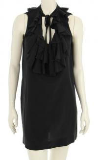 Black silk ruffle trim sleeveless dress