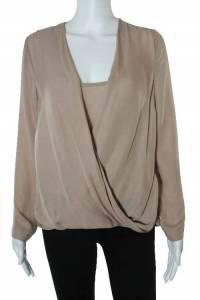 Blush Pink Silk Draped Long Sleeve Blouse