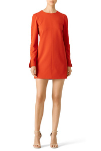 Tibi Orange Paprika Button Shift Dress