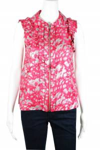 Pink Silver Abstract Print Zip Front Blouse