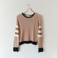 A.L.C. Wool Striped Cayden Sweater in Camel