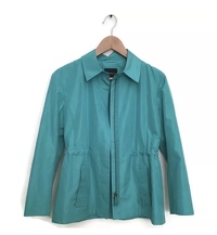 Akris Jacket Silk Blazer Blue Green Zip Up 4