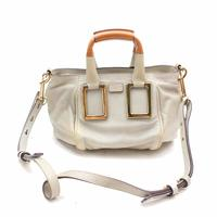 Chloe Large Ethel bag - White leather & Gold