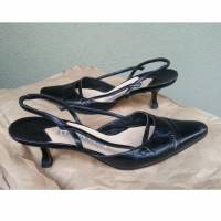 Black Slingbacks Classic Black Kitten Heels 36.5