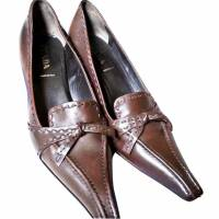 Prada Pumps Shoes Chocolate Kitten Heels 38.5
