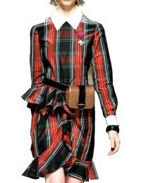 Moschino Plaid Taffeta Ruffle Dress Runway $1795