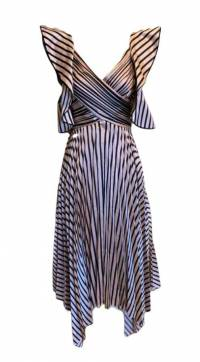 Self Portrait Stripe Dress, Pink and Black Size 0