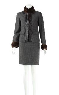 Dolce & Gabbana Mink & Aligator Lined Skirt Suit
