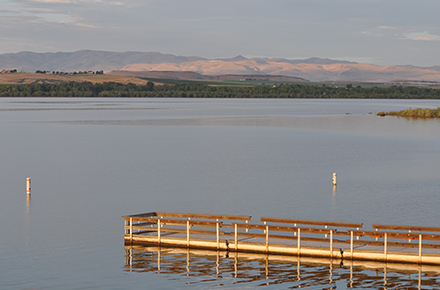 Sun-lit dock extending out over tranquil blue lake with vegetation and mountains in the background