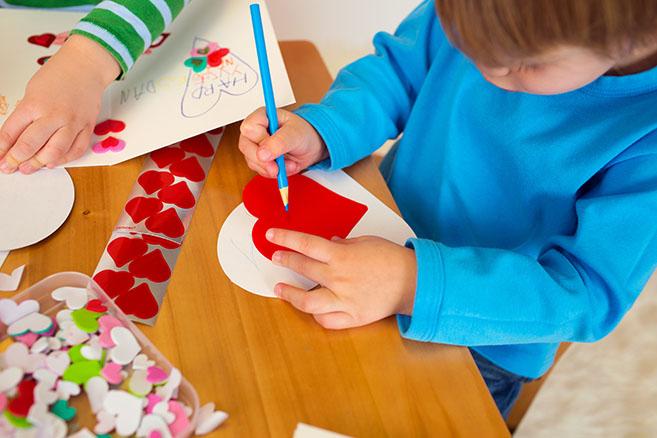 Kids Making Homemade Valentines
