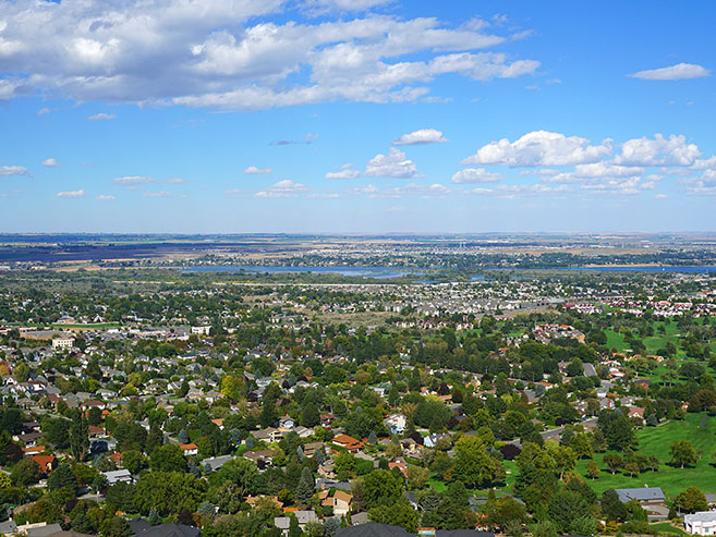 Tri-Cities aerial view of the city