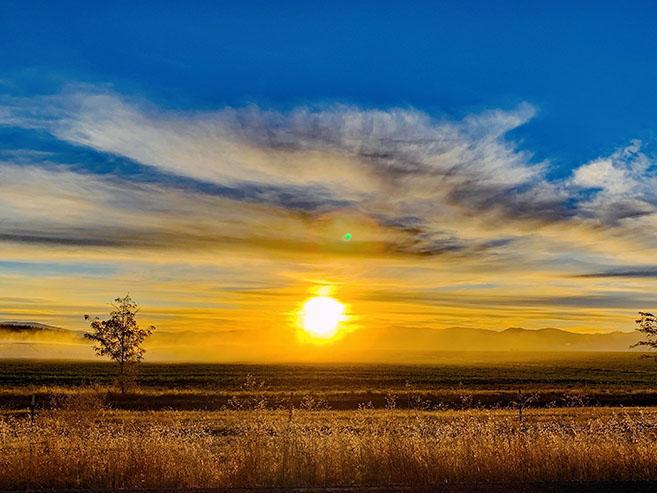 Spring sunrise in near Arrowleaf new home community in Post Falls Idaho
