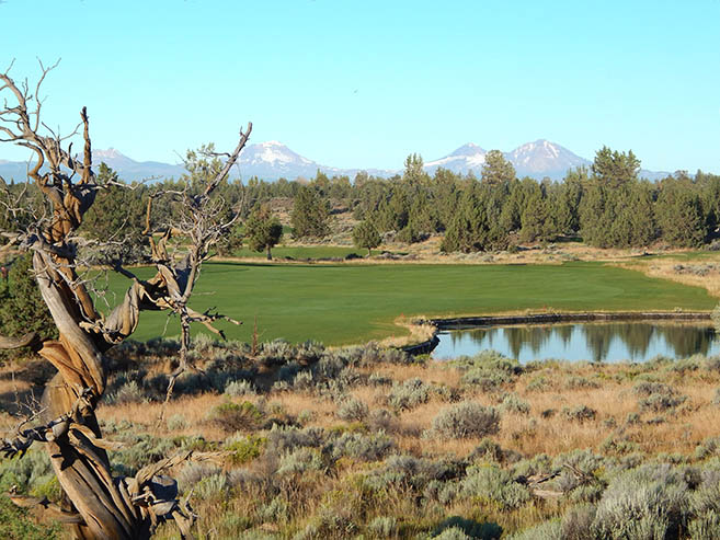 Golf course with view of the mountains near Village at Ridgeview in Redmond, Oregon