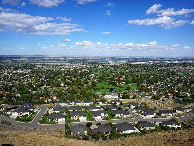 View of West Richland Washington from a hill near Kingview Estates community