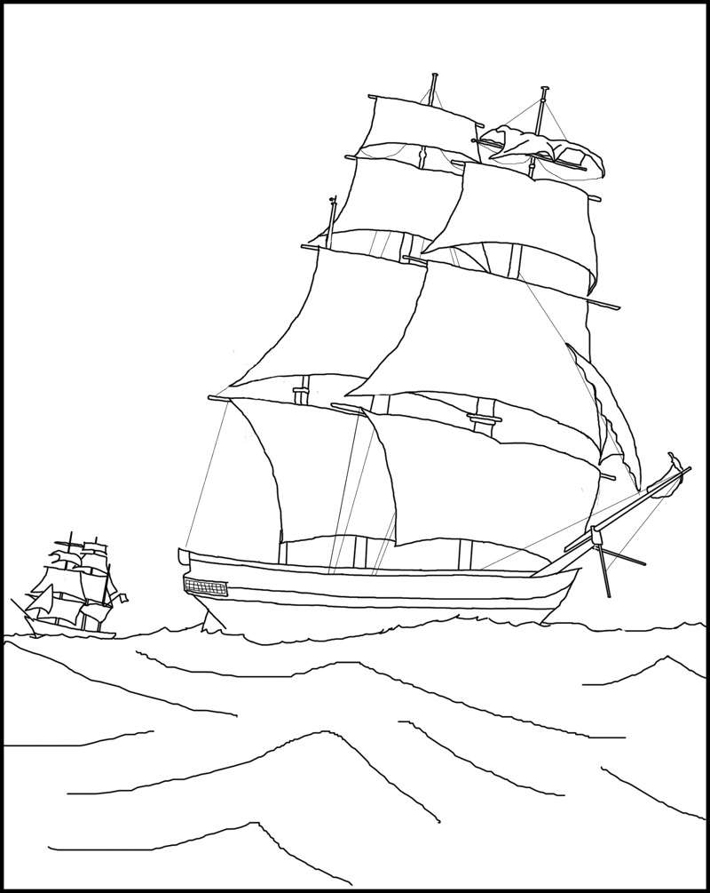 Jacques cartier boat coloring pages ~ Hbc Heritage | Colouring Pages