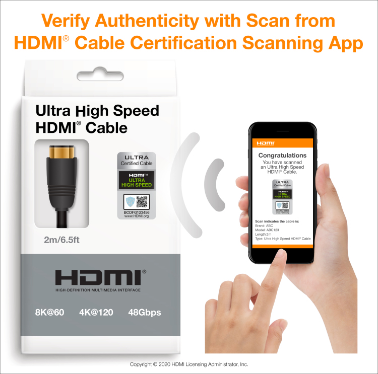 Ultra High Speed HDMI Cable Certification Scan