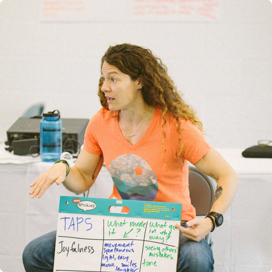 Emily leading a playmaker training