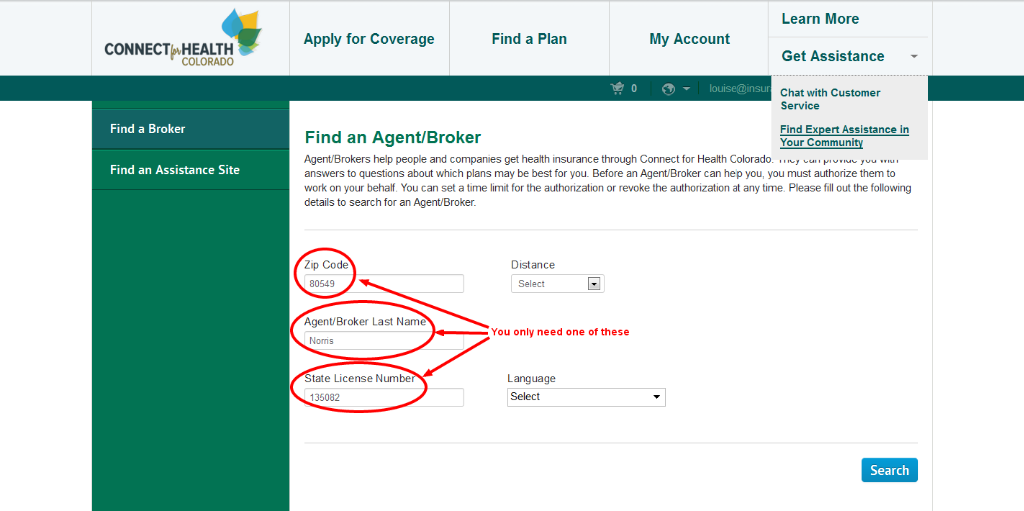 Assigning Colorado health insurance broker with Connect for Health