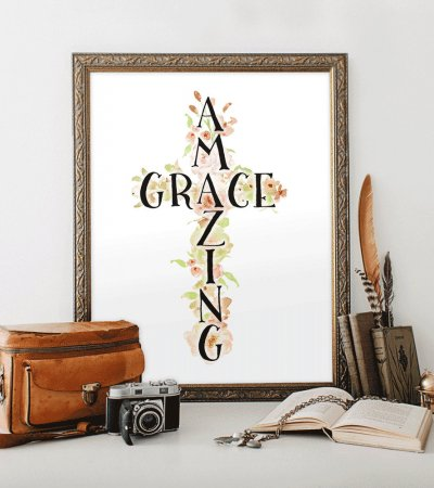 Printable art Amazing Grace sign print How sweet the sound Floral Christian art Song lyric printable Watercolor flowers HEART OF LIFE Design