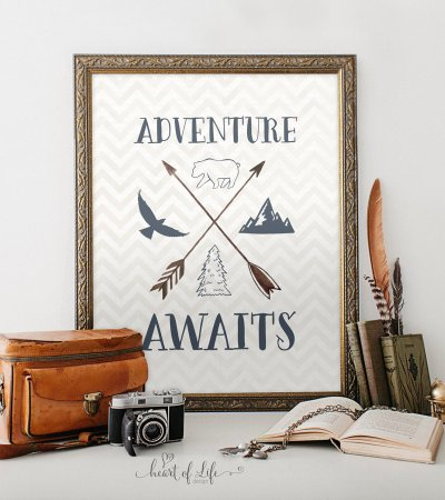 Navy nursery decor, Adventure awaits, Printable art, Bear print, Mountain art print ,Adventure quote, Quote print, HEART OF LIFE Design art