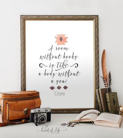 Printable art, Motivational quote, Home office print, Home office decor, Library decor, Inspirational quote, A room without books quote art