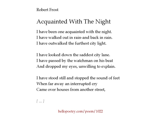 the themes of grievances confusion and guilt in acquainted with the night by robert frost Unitarian universalist congregation of the south jersey shore robert frost was asked if he had hope for unitarian universalist congregation of the south.
