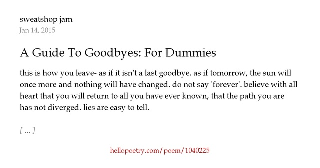 without a last goodbye poem
