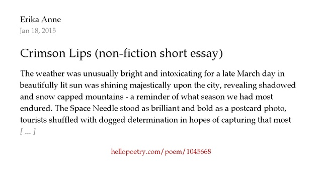 crimson lips non fiction short essay by erika soerensen hello  crimson lips non fiction short essay by erika soerensen hello poetry