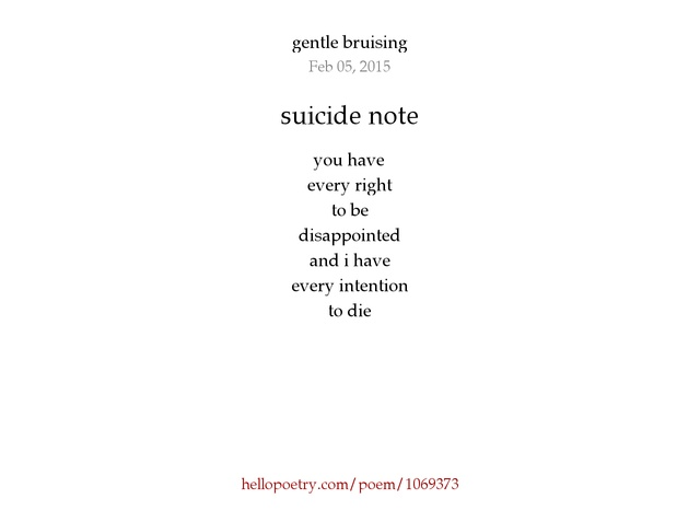 suicide note by oni - hello poetry