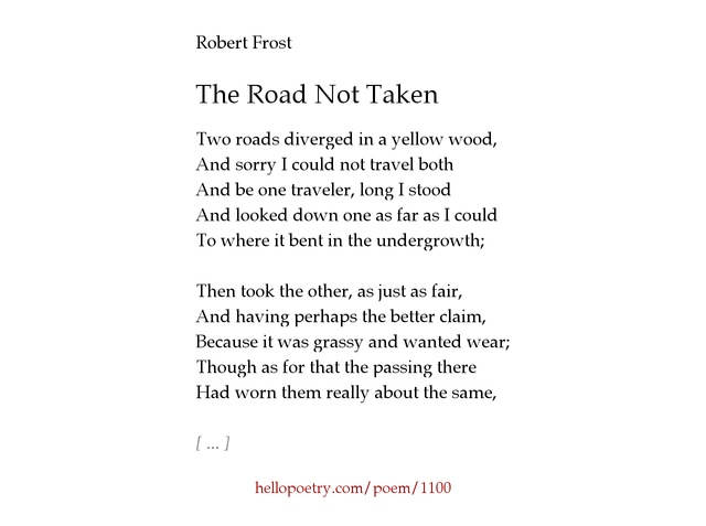 The Road Not Taken by Robert Frost - Hello Poetry