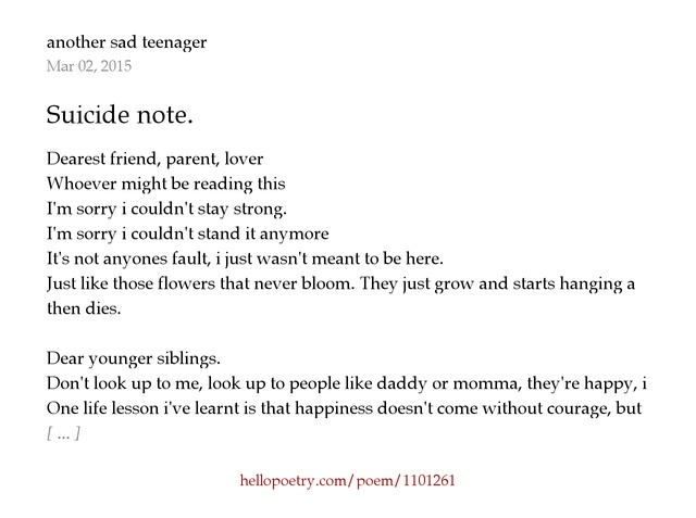 suicide note. by haunted by demons - hello poetry