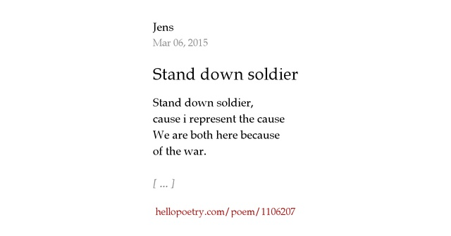 Amazon Contact Us >> Stand down soldier by Jens - Hello Poetry