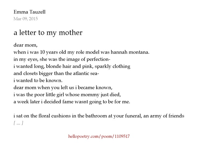 a letter to my mother by Haiden Rose Hello Poetry
