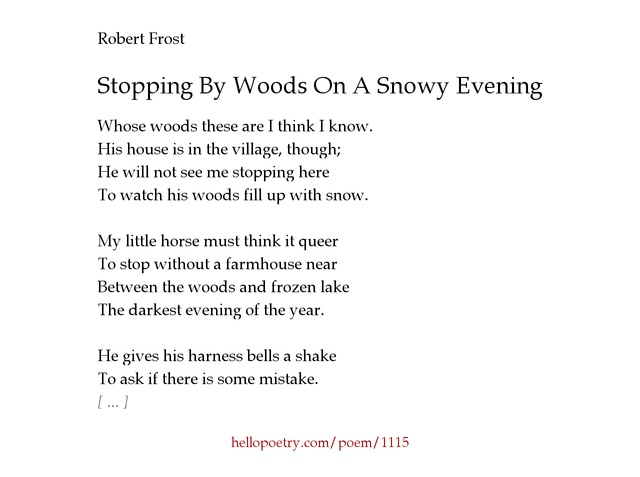review robert frost s stopping by woods