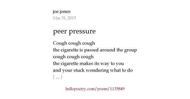 Peer Pressure By Joe Jones Hello Poetry