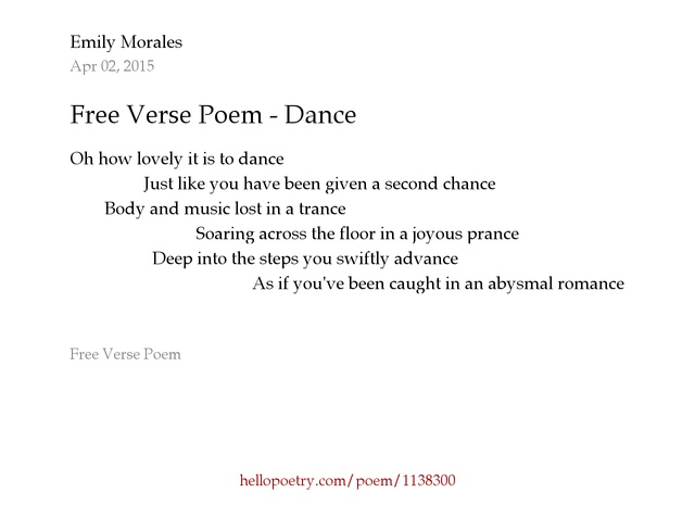 Free Verse Poem - Dance by Emily Morales - Hello Poetry