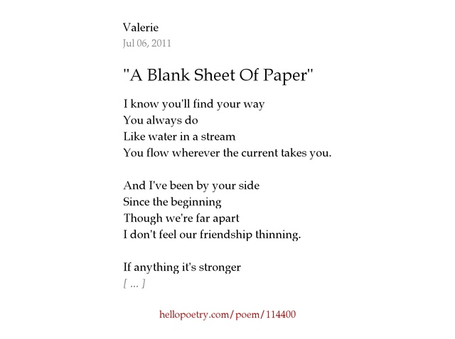 poem paper How to format a poem when you're formatting a poem, you're usually making it ready for publication you may be a bit.