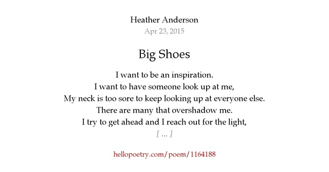Big Shoes by Heather Anderson - Hello Poetry