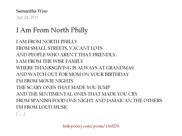 I Am From North Philly by Samantha Wise - Hello Poetry