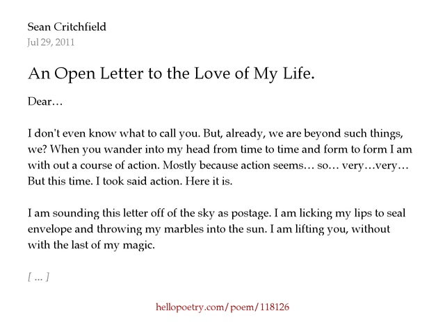 An Open Letter to the Love of My Life by Sean Critchfield Hello