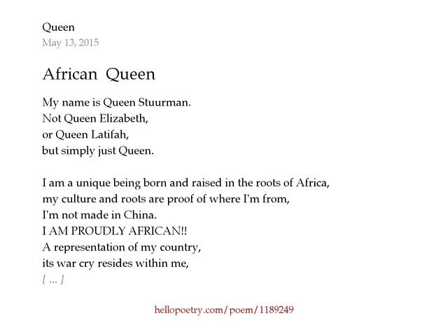 African Queen by Queen - Hello Poetry