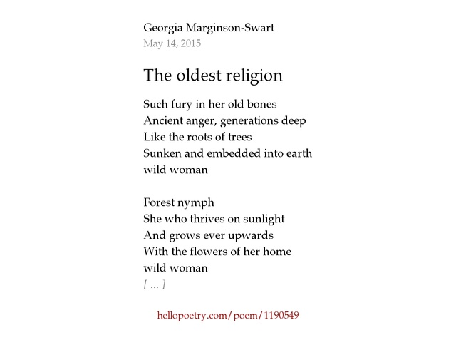 The Oldest Religion By Georgia MarginsonSwart Hello Poetry - Oldest religion