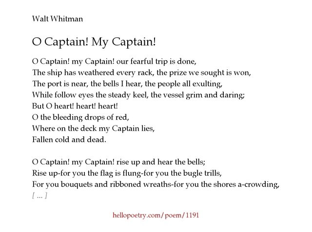 oh captain my captain essay questions Teaching poems: analyze walt whitman's o captain my captain poem lesson plans student activities with twist, extended metaphor analysis & poetry comparison.
