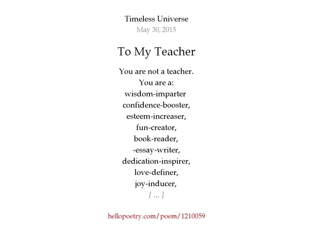 to my teacher by oh my stars hello poetry